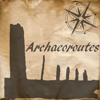 Archaeoroutes logo. It is a stylised image of the Ring of Brodgar on Orkney.